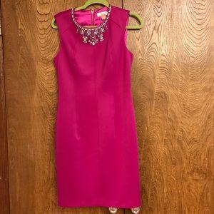Ted Baker Magenta Dress with Embellished Neckline